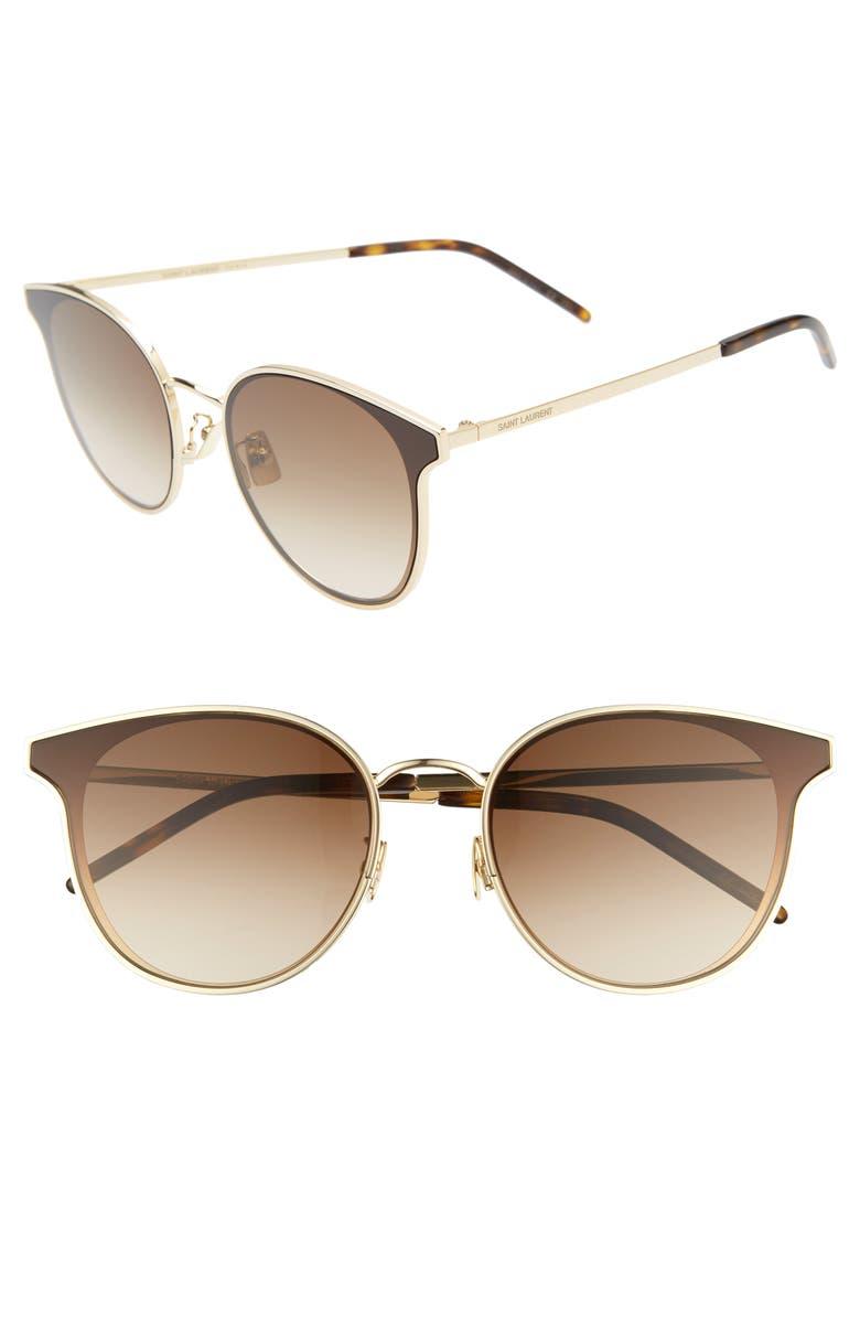 SAINT LAURENT 64mm Oversize Flat Front Round Sunglasses, Main, color, GOLD/ BROWN GRADIENT