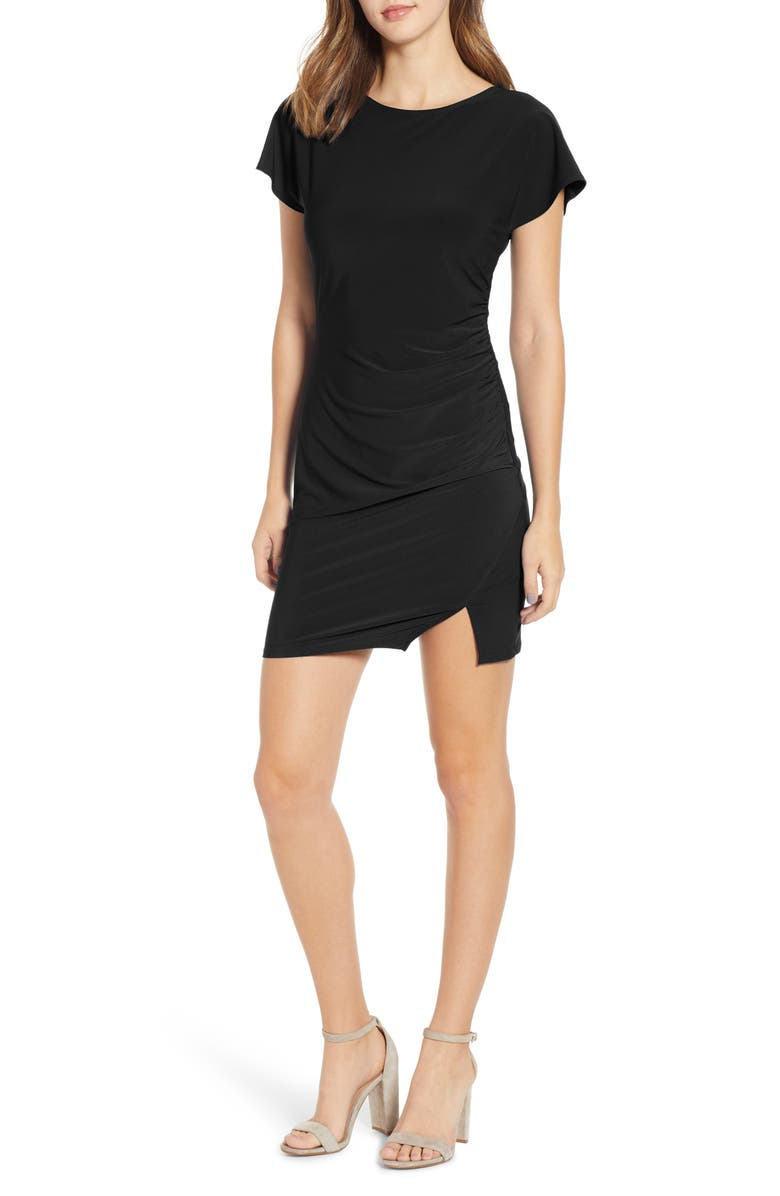 LEITH Ruched Minidress, Main, color, BLACK