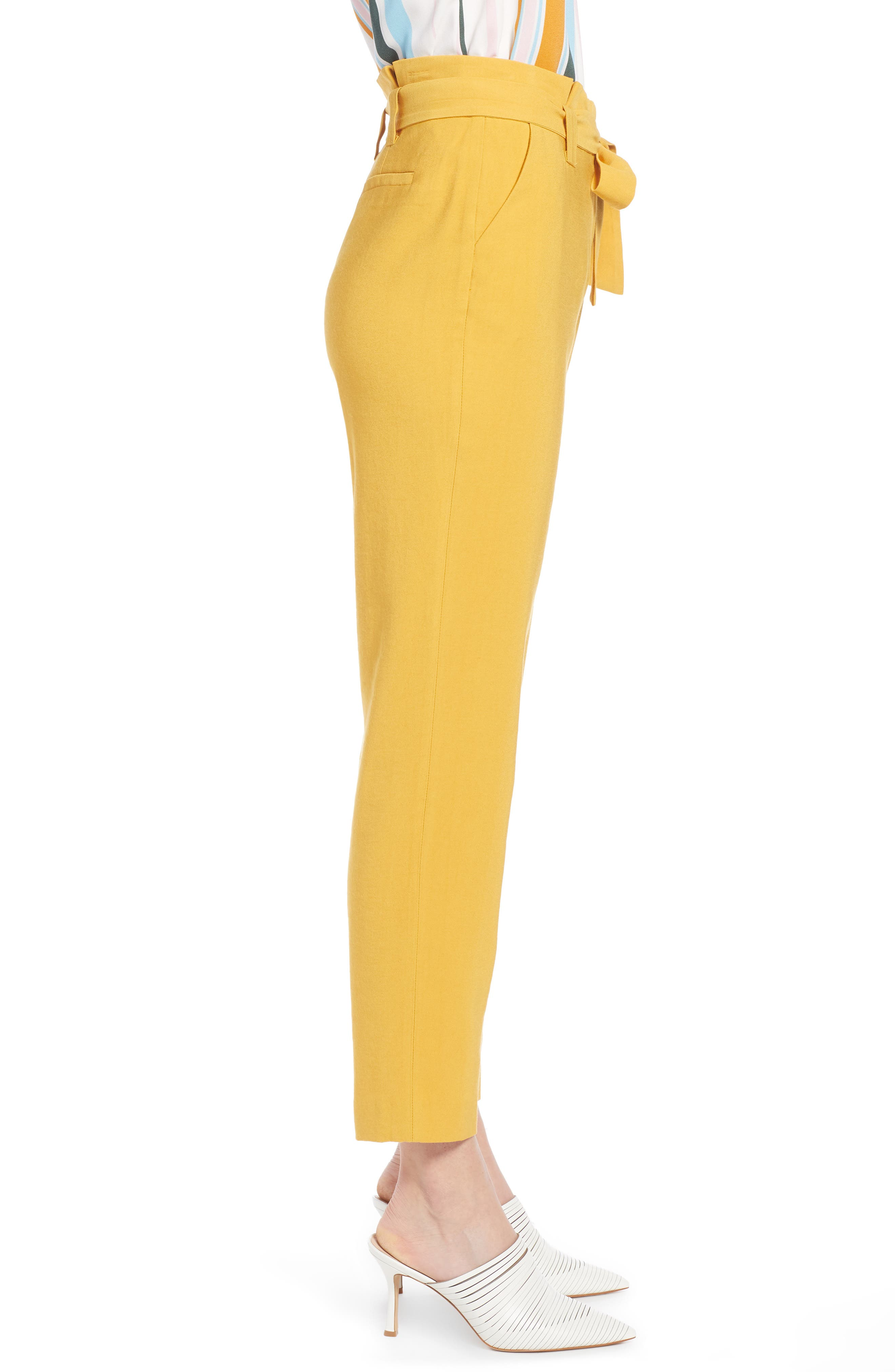 ,                             High Waist Tie Twill Pants,                             Alternate thumbnail 4, color,                             YELLOW MINERAL