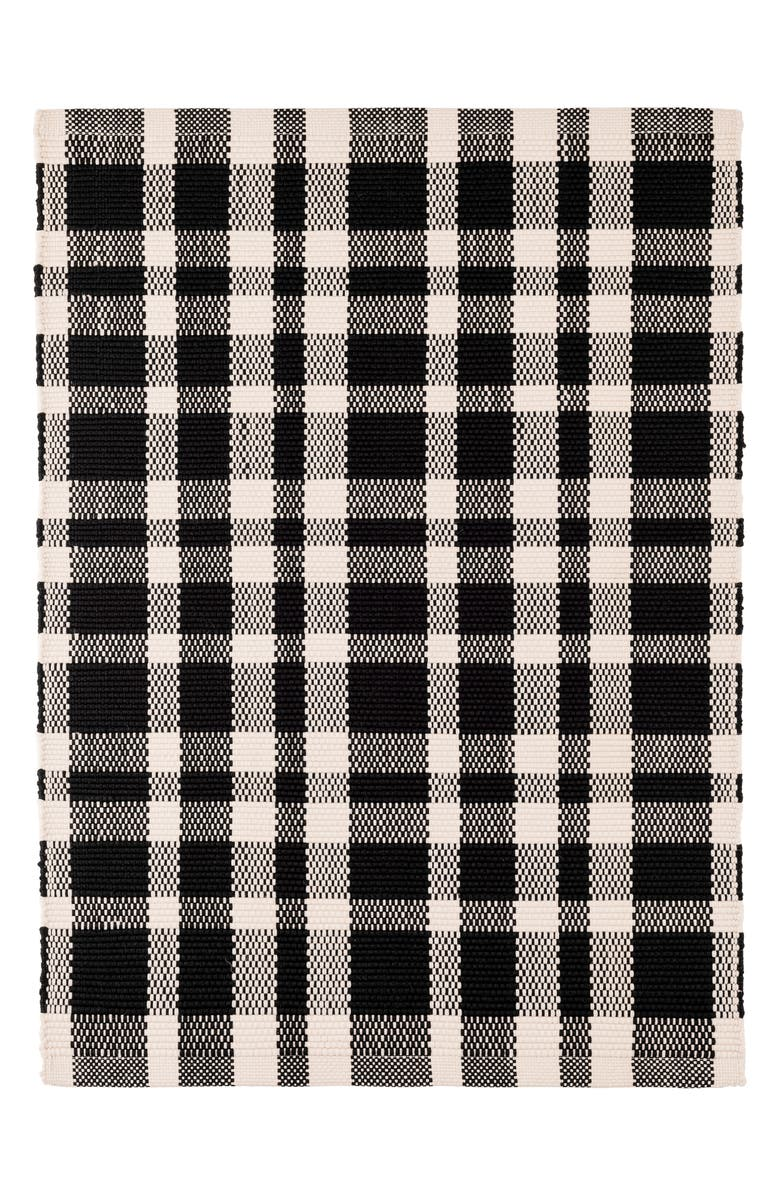 DASH & ALBERT Tattersall Indoor/Outdoor Rug, Main, color, BLACK