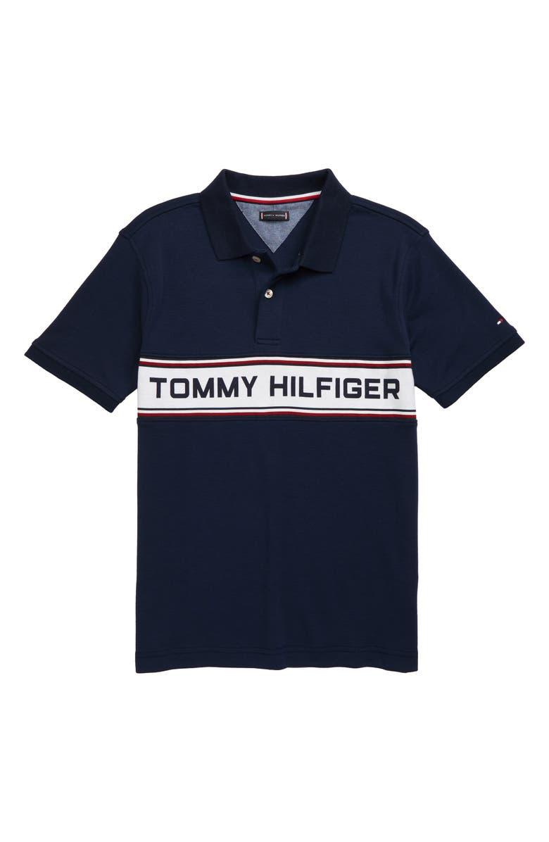 TOMMY HILFIGER Cotton Blend Polo, Main, color, BLUE
