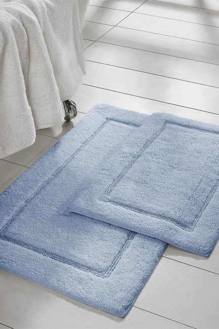 Image of Modern Threads Light Blue Solid Loop Non-Slip Bath Mat 2-Piece Set