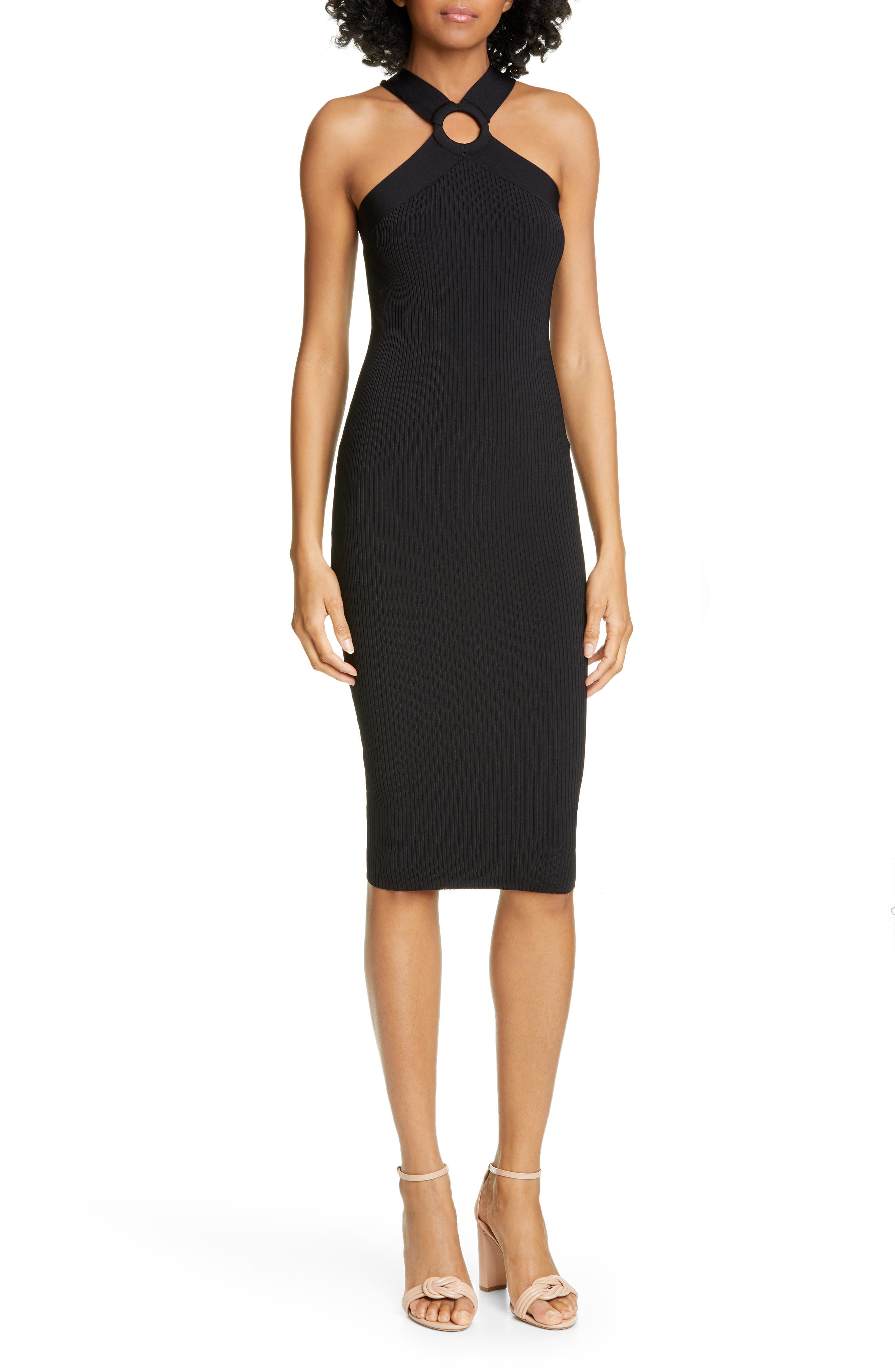 Ted Baker London Sionna Ribbed Body-Con Sweater Dress, Black