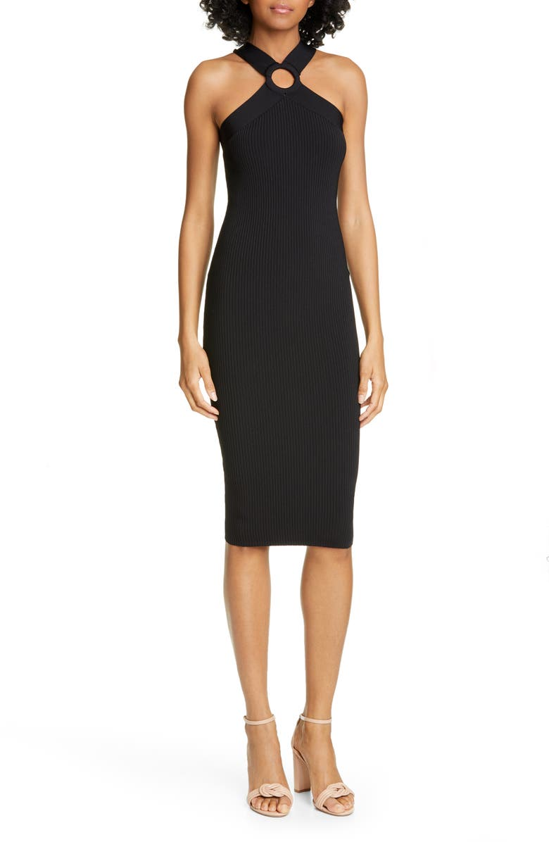TED BAKER LONDON Sionna Ribbed Body-Con Sweater Dress, Main, color, BLACK