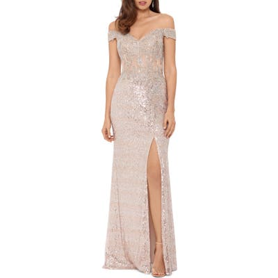 Xscape Sequin Embroidered Off The Shoulder Gown, Pink