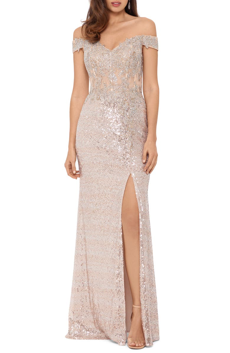 XSCAPE Sequin Embroidered Off the Shoulder Gown, Main, color, BLUSH/ SILVER