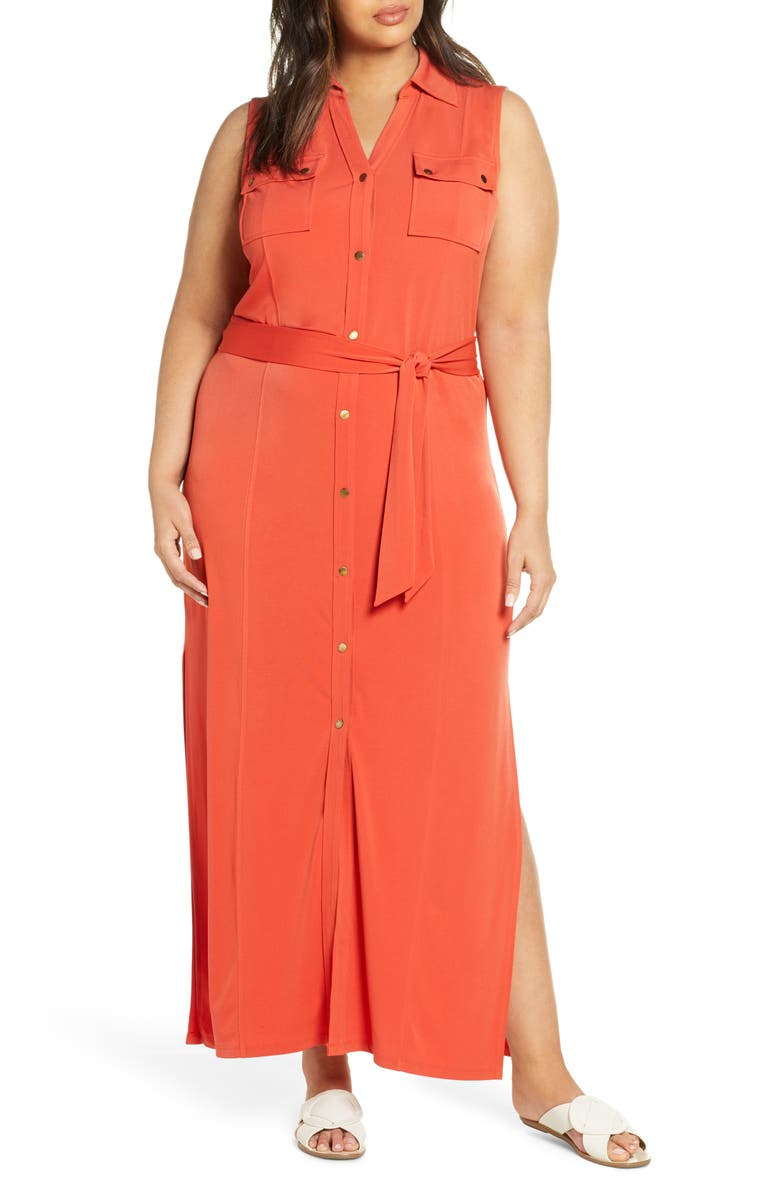 MICHAEL MICHAEL KORS Belted Sleeveless Maxi Shirtdress, Main, color, DARK PERSIMMON