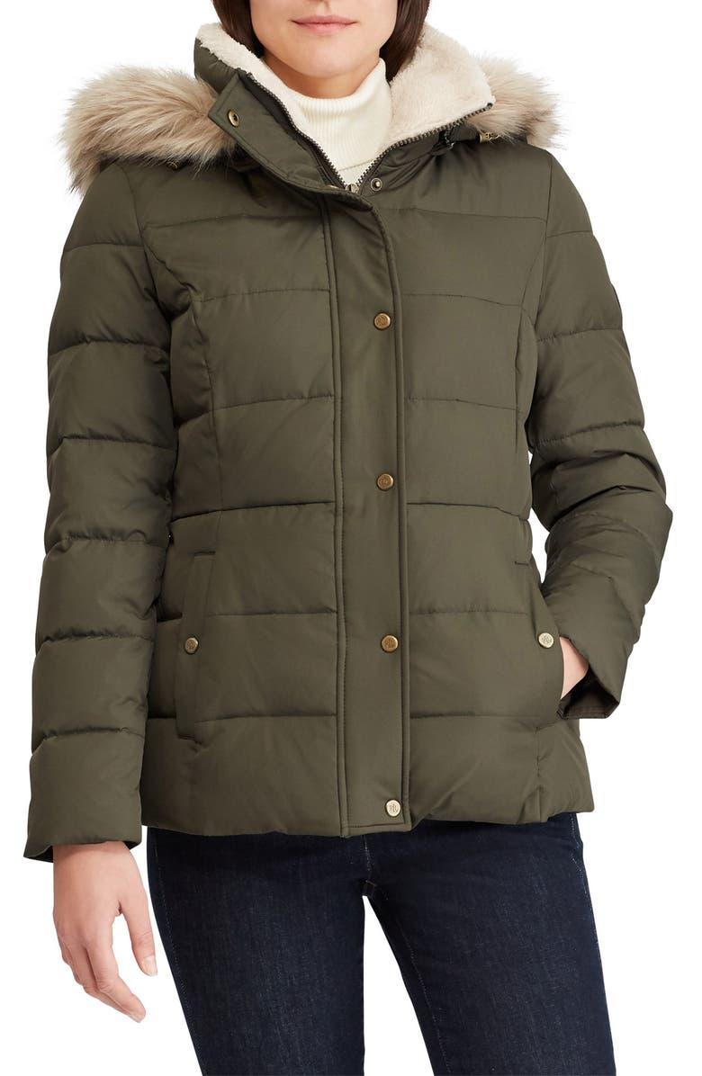 LAUREN RALPH LAUREN Down Puffer Jacket with Faux Fur Trim, Main, color, LITCHFIELD LODEN