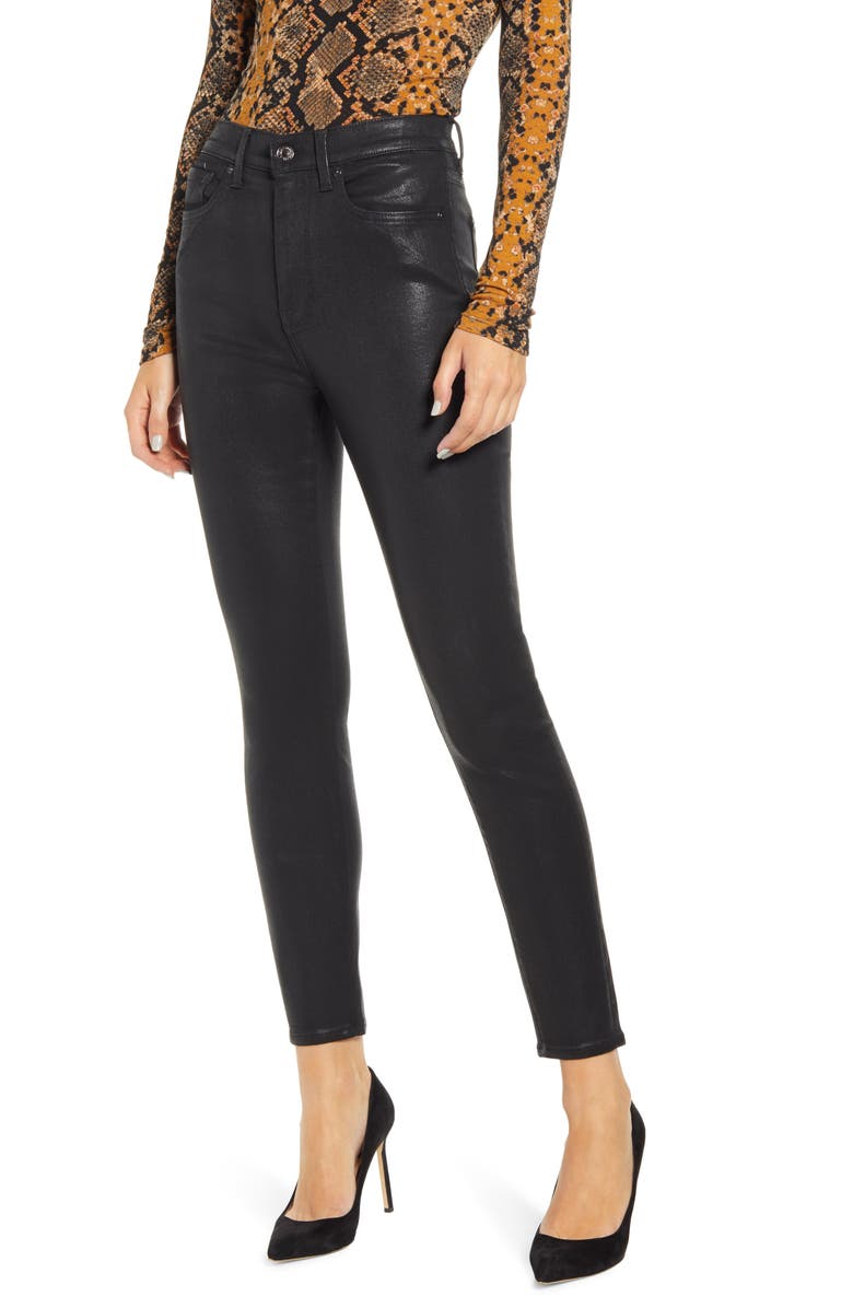 7 FOR ALL MANKIND<SUP>®</SUP> (b)air Coated High Waist Ankle Skinny Jeans, Main, color, BAIR COATED BLACK