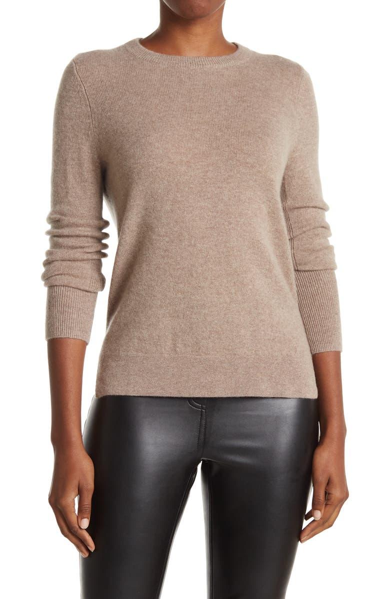 HALOGEN ? Crewneck Cashmere Sweater, Main, color, TAN COBBLESTONE HEATHER