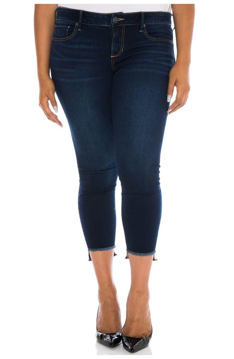 SLINK JEANS Frayed Step Hem Stretch Skinny Jeans, Main, color, AMBER