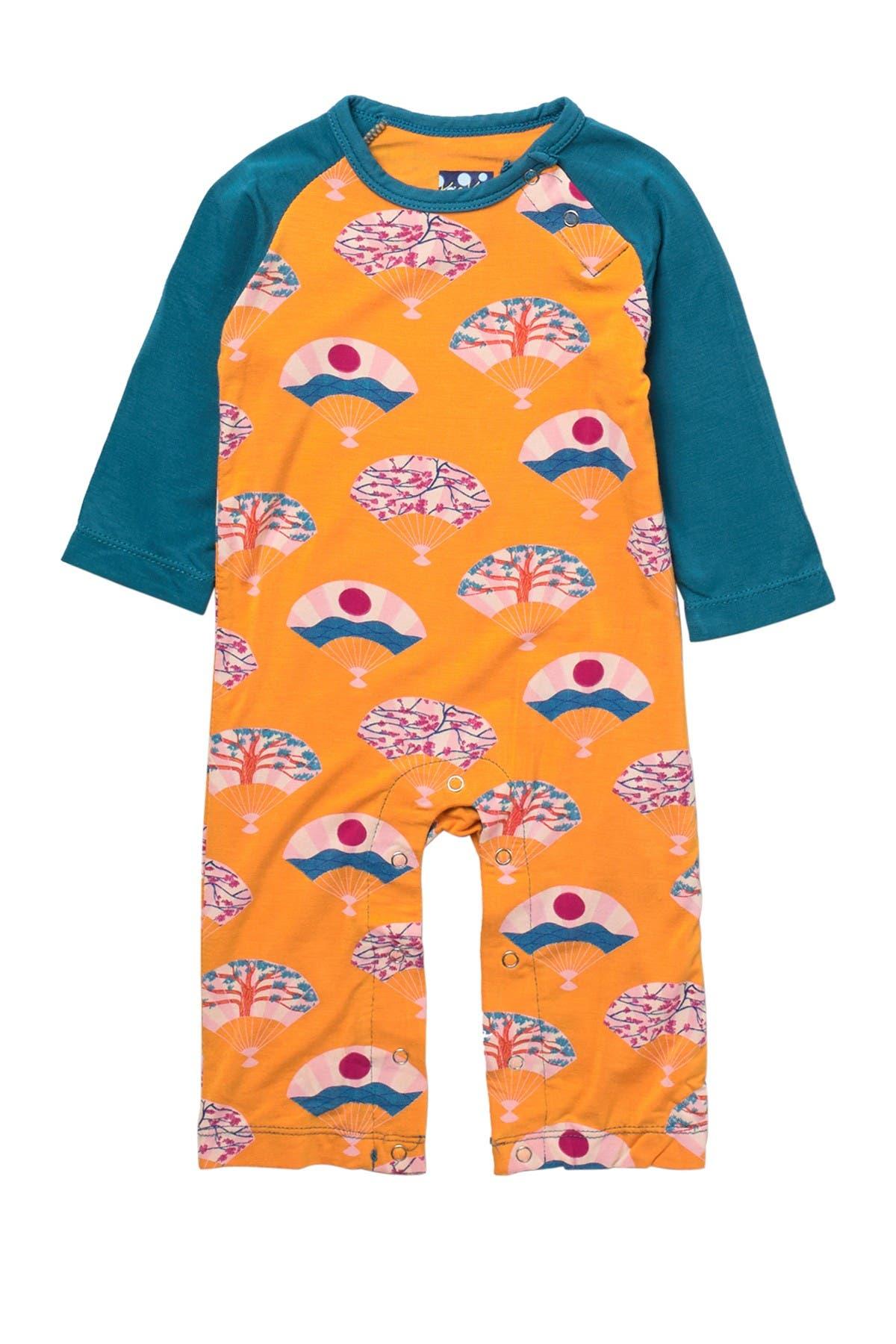 Image of KicKee Pants Printed Long Sleeve Raglan Romper