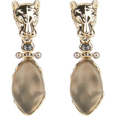 Alexis Bittar Future Antiquity Panther Head Clip-On Drop Earrings