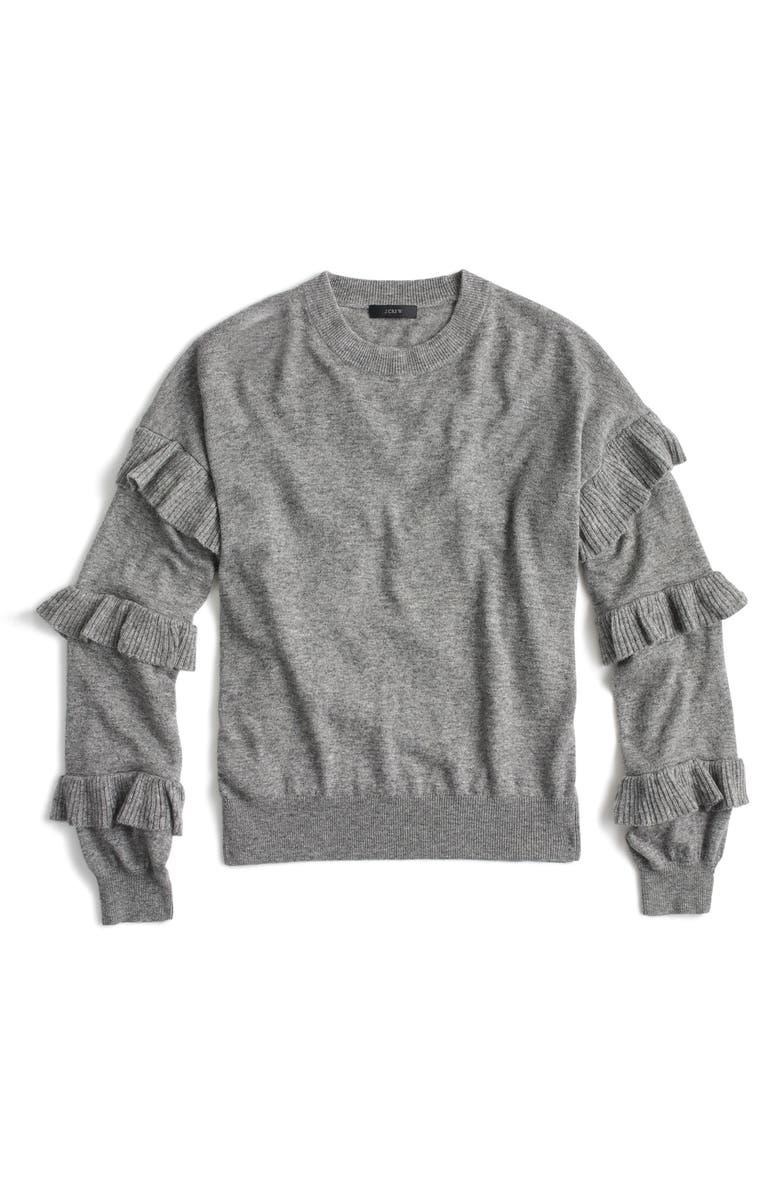 J.CREW Ruffle Sleeve Sweater, Main, color, 020