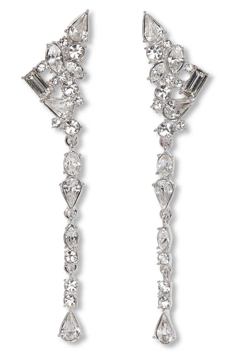 VINCE CAMUTO Linear Crystal Earrings, Main, color, SILVER