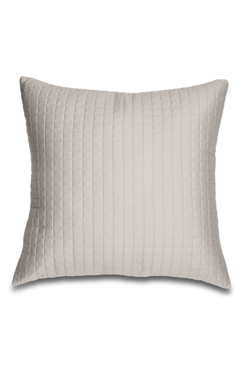 SIGNORIA FIRENZE Masaccio Knife Edge 300 Thread Count Quilted Euro Sham, Main, color, PEARL