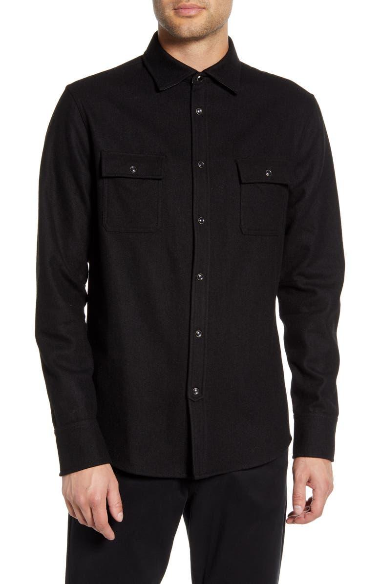 KARL LAGERFELD PARIS Regular Fit Wool Blend Shirt, Main, color, BLACK