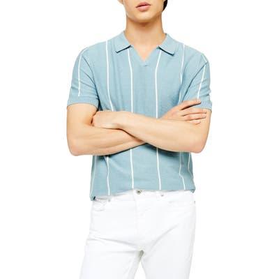 Topman Stripe Johnny Collar Polo Sweater, Blue