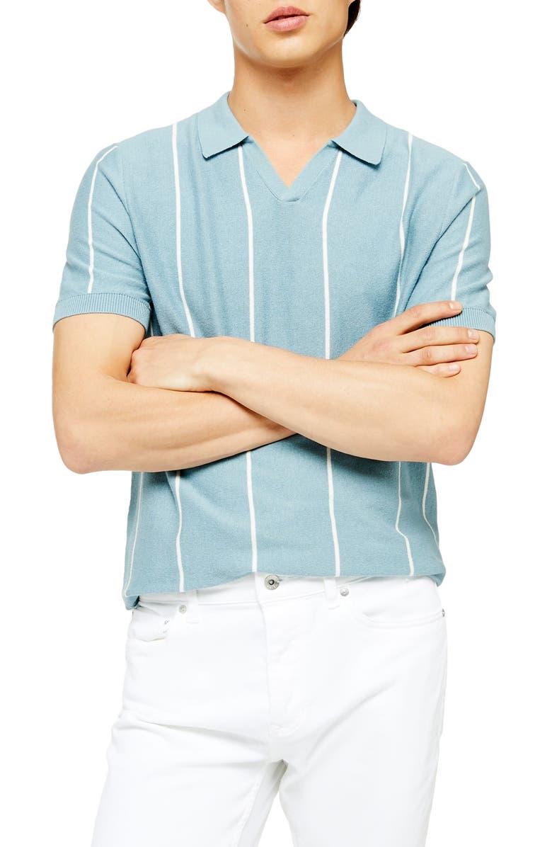 TOPMAN Stripe Johnny Collar Polo Sweater, Main, color, 400