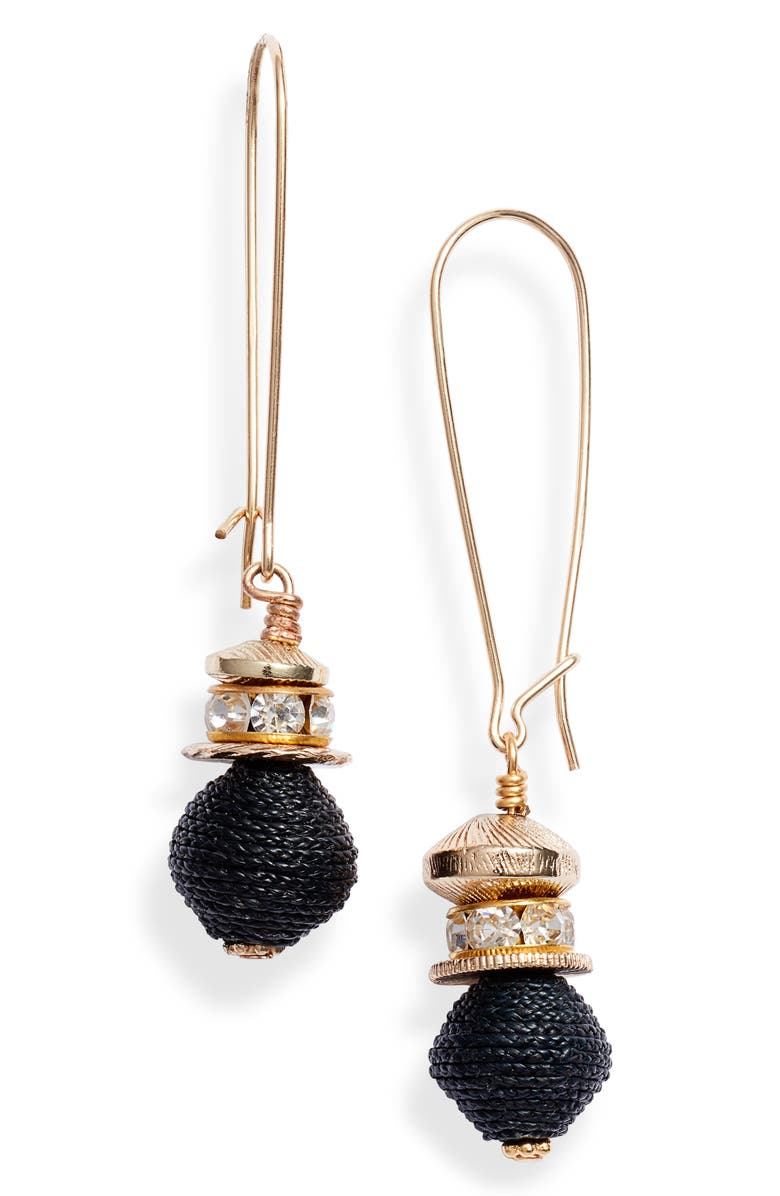 AKOLA Raffia & Crystal Drop Earrings, Main, color, BLACK