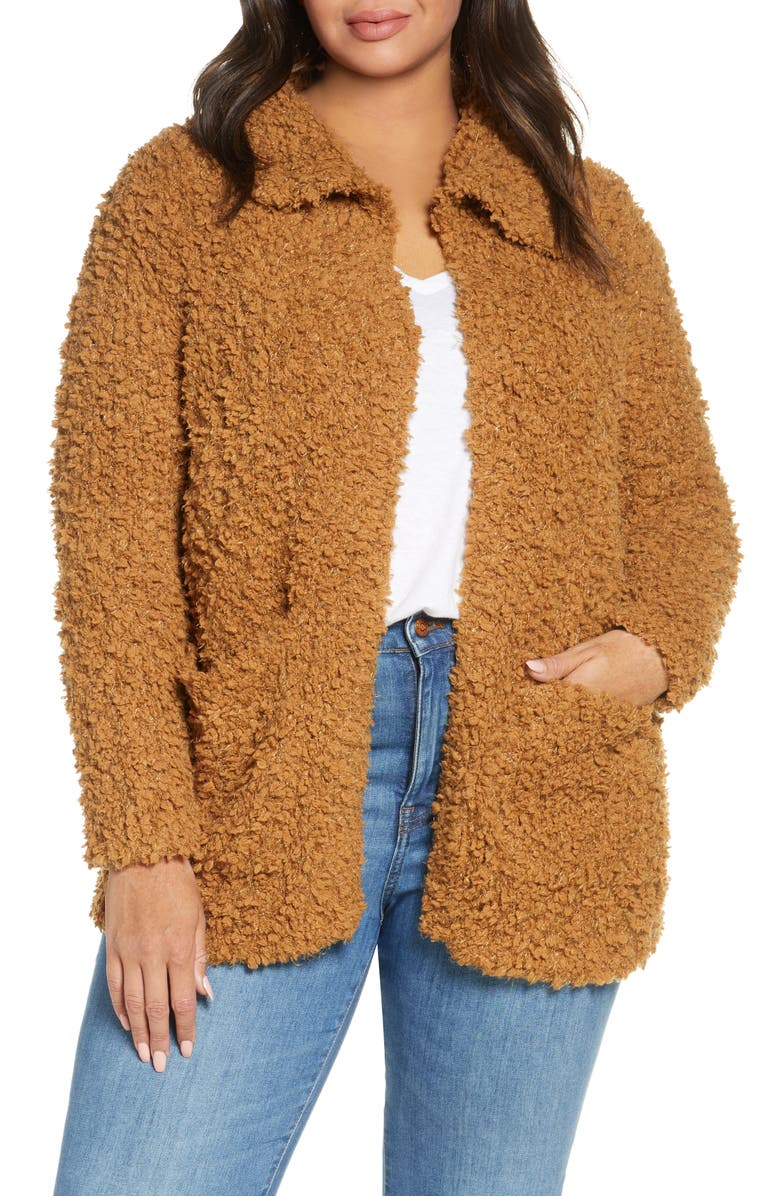 CASLON<SUP>®</SUP> Teddy Open Front Cardigan, Main, color, BROWN SADDLE