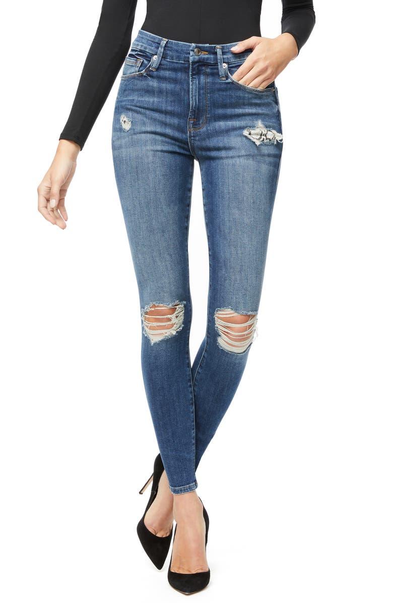 GOOD AMERICAN Good Waist Distressed Snake Pocket Bag Skinny Jeans, Main, color, BLUE322