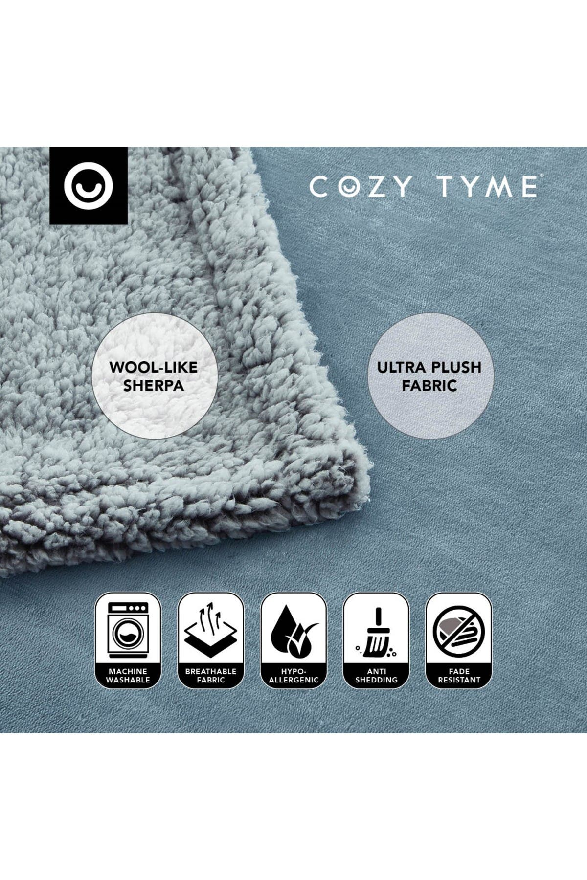 """Image of Inspired Home Cozy Tyme Saleem Flannel Reversible Faux Shearling Throw 50"""" x 60"""" - Light Blue"""