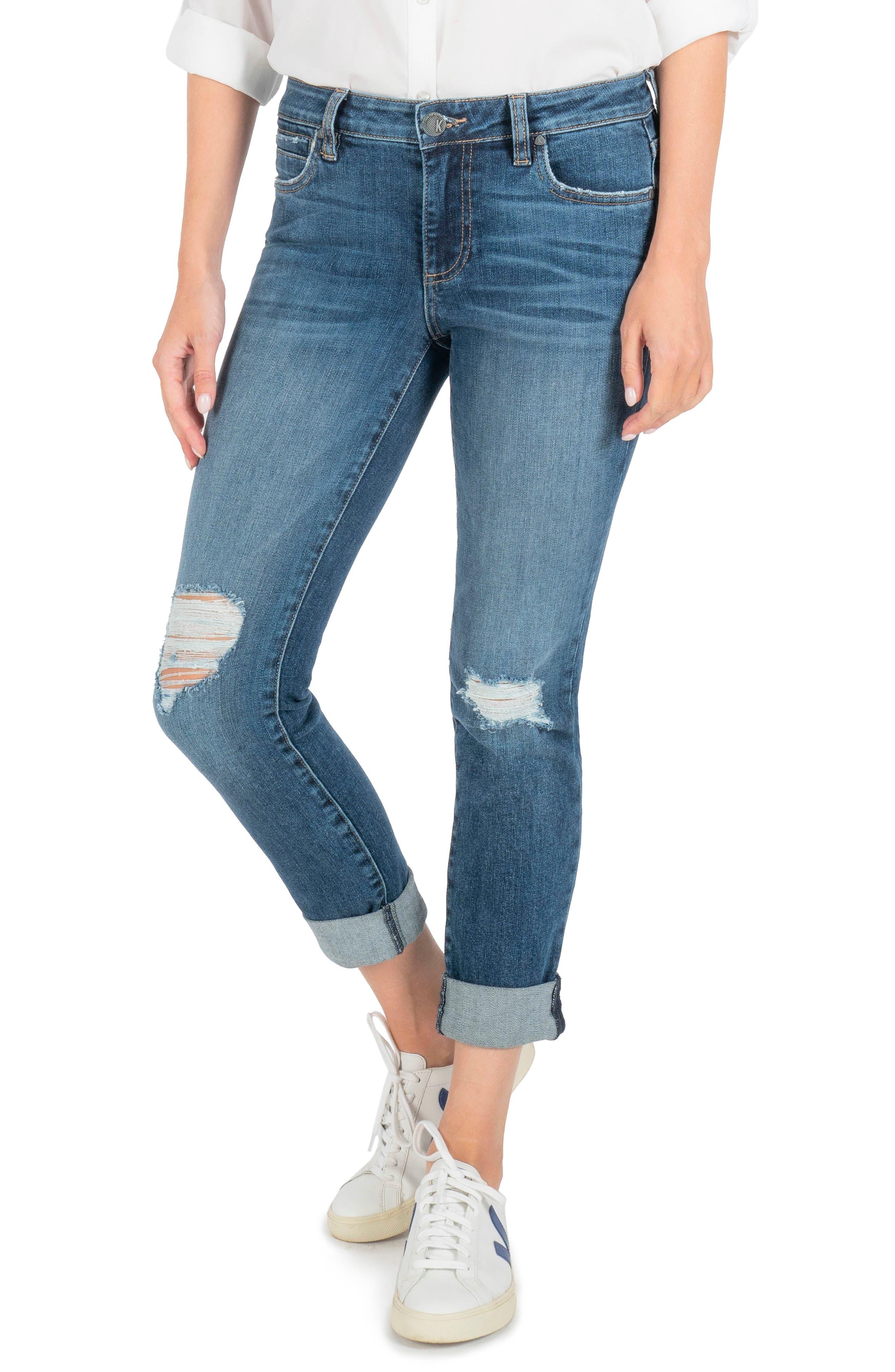 Catherine Ripped High Waist Boyfriend Jeans