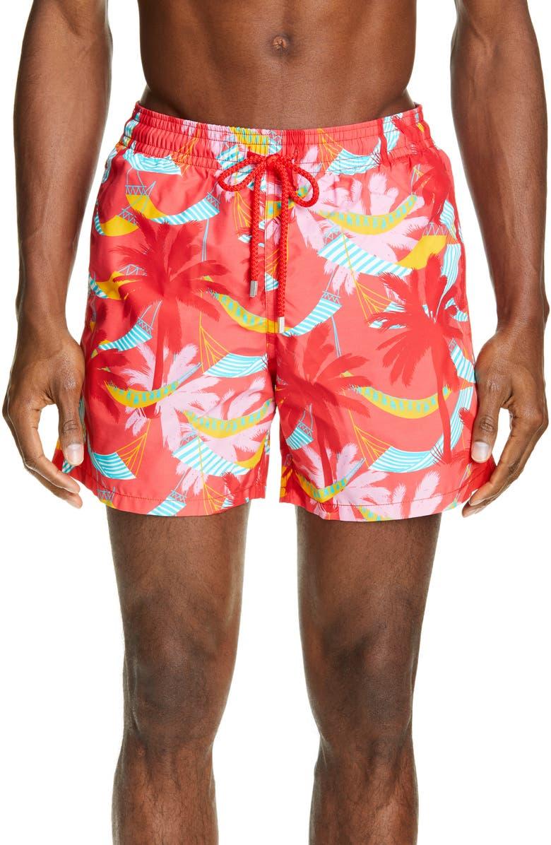 VILEBREQUIN Moorise Ibiza Swim Trunks, Main, color, HIBISCUS