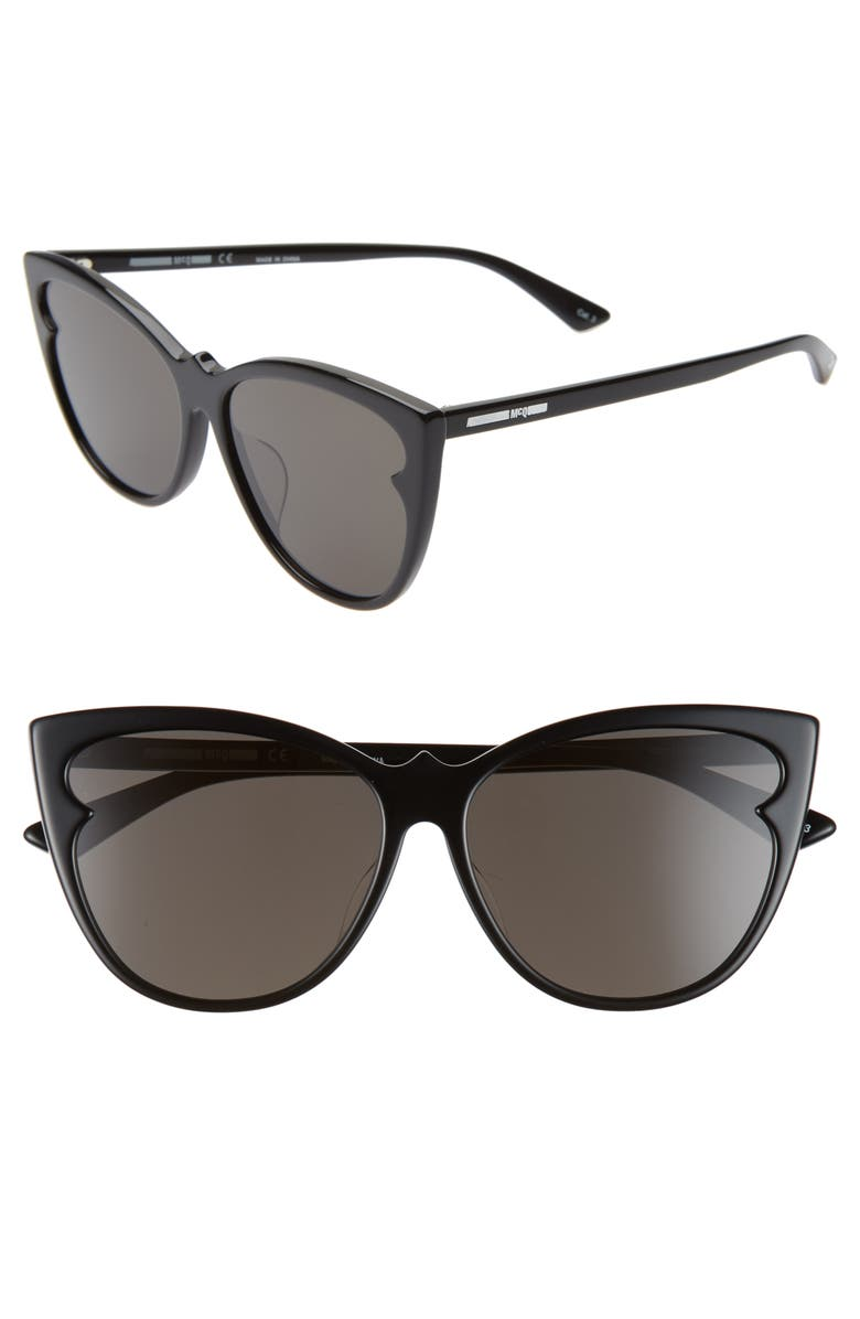 MCQ ALEXANDER MCQUEEN 59mm Cat Eye Sunglasses, Main, color, 001