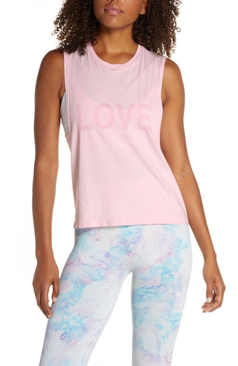 SPIRITUAL GANGSTER Love Active Flow Muscle Tee, Main, color, BLOSSOM