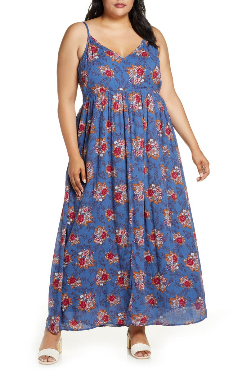 CASLON<SUP>®</SUP> Printed Maxi Slipdress, Main, color, BLUE C ANNA FLORAL PRINT