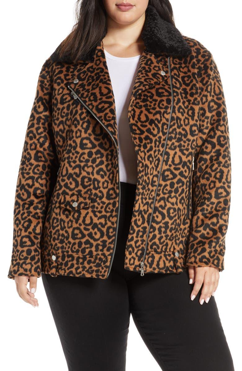 AVEC LES FILLES Faux Leopard Fur Jacket with Faux Shearling Collar, Main, color, 200