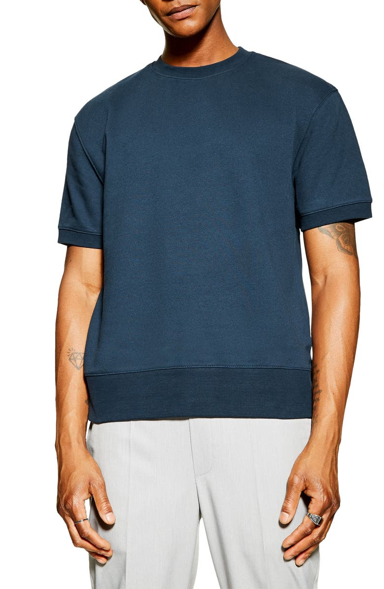 TOPMAN Tristan Short Sleeve Sweater, Main, color, NAVY BLUE