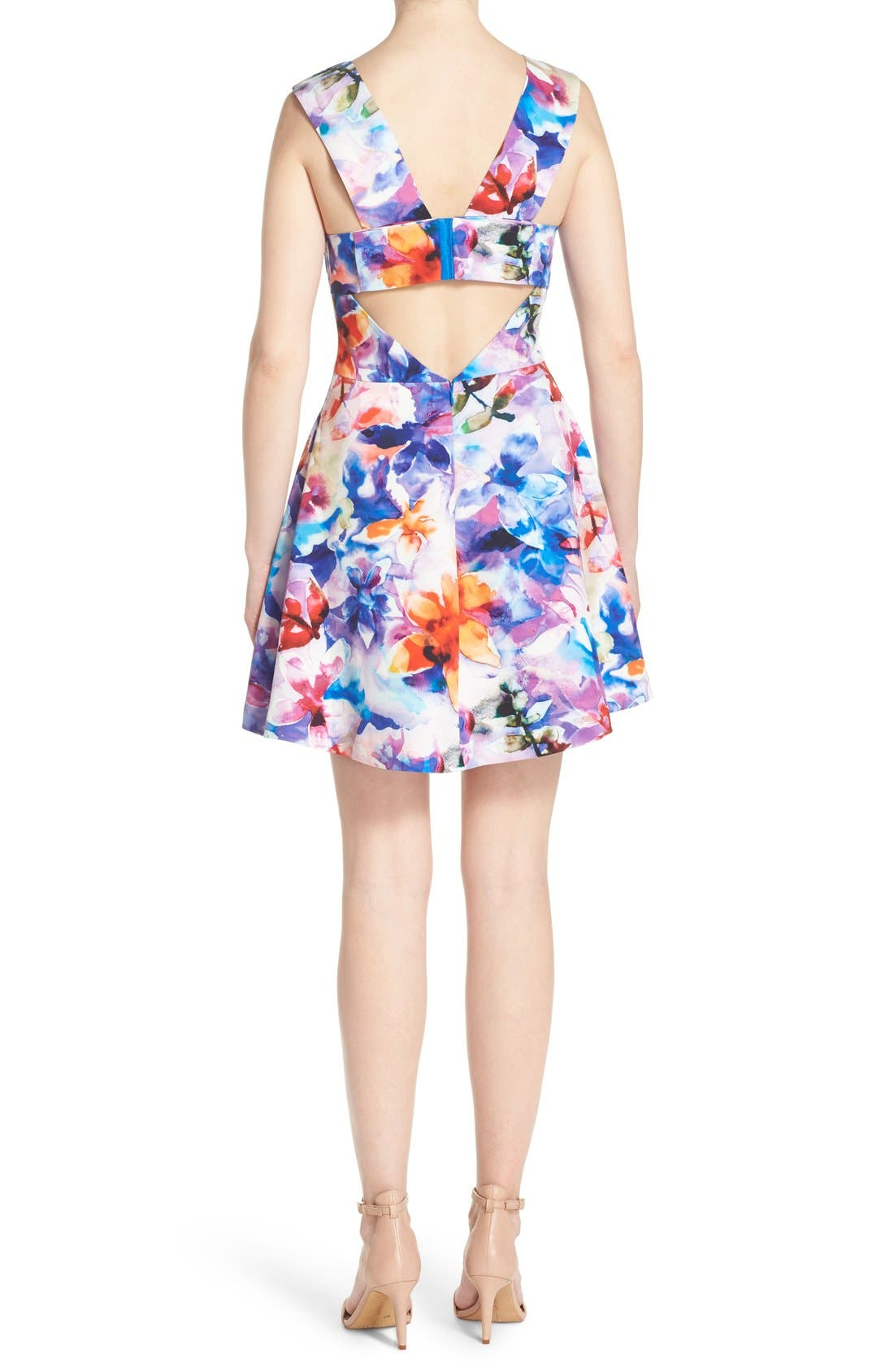 ,                             Bianca Back Cutout Fit & Flare Dress,                             Alternate thumbnail 50, color,                             425