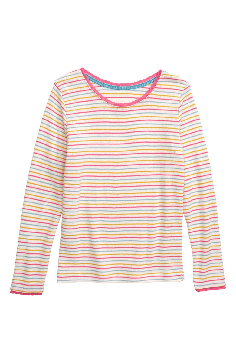 MINI BODEN Long Sleeve Pointelle Tee, Main, color, MULTI RAINBOW