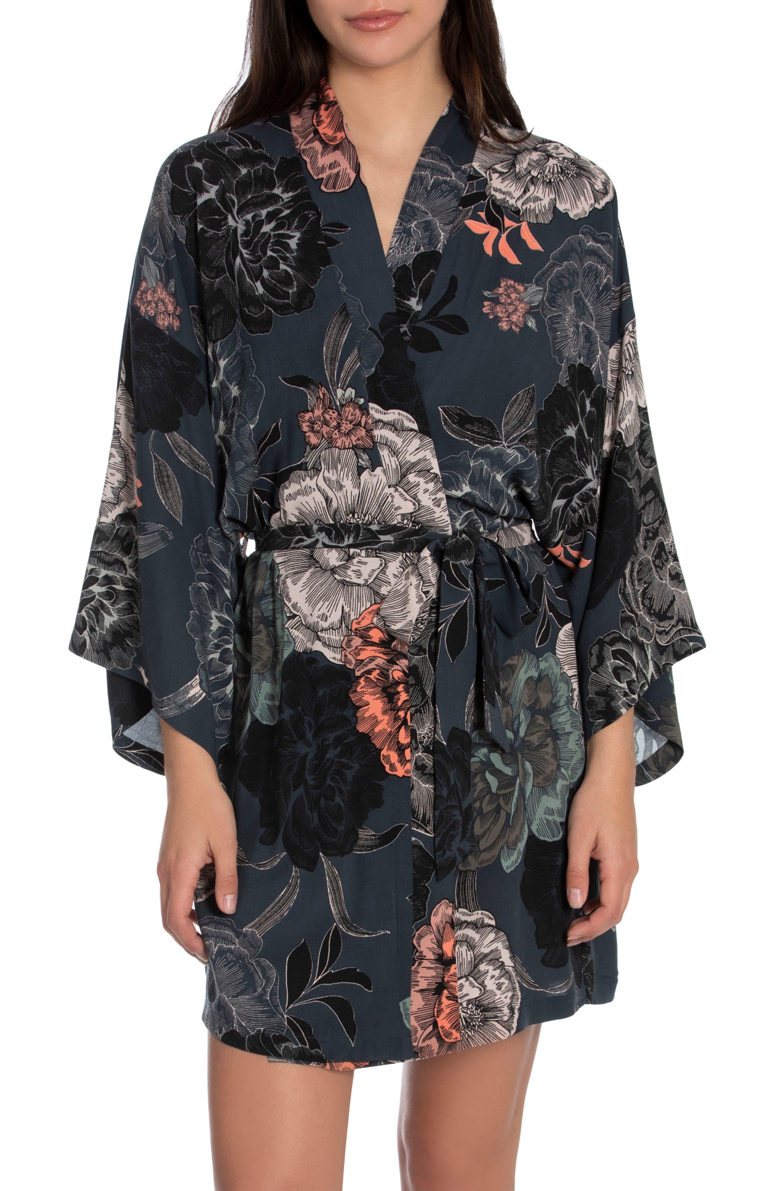 Floral Print Short Robe