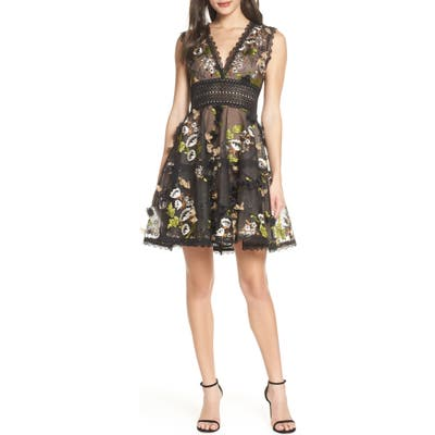 Bronx And Banco Olivia Mixed Media Party Dress, Black