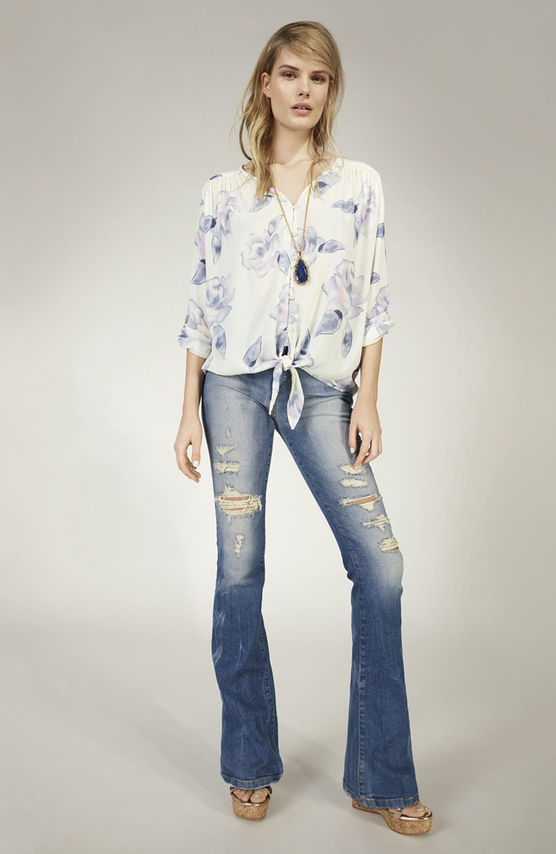 ,                             'Collector's Edition' Destructed Flare Jeans,                             Alternate thumbnail 7, color,                             400