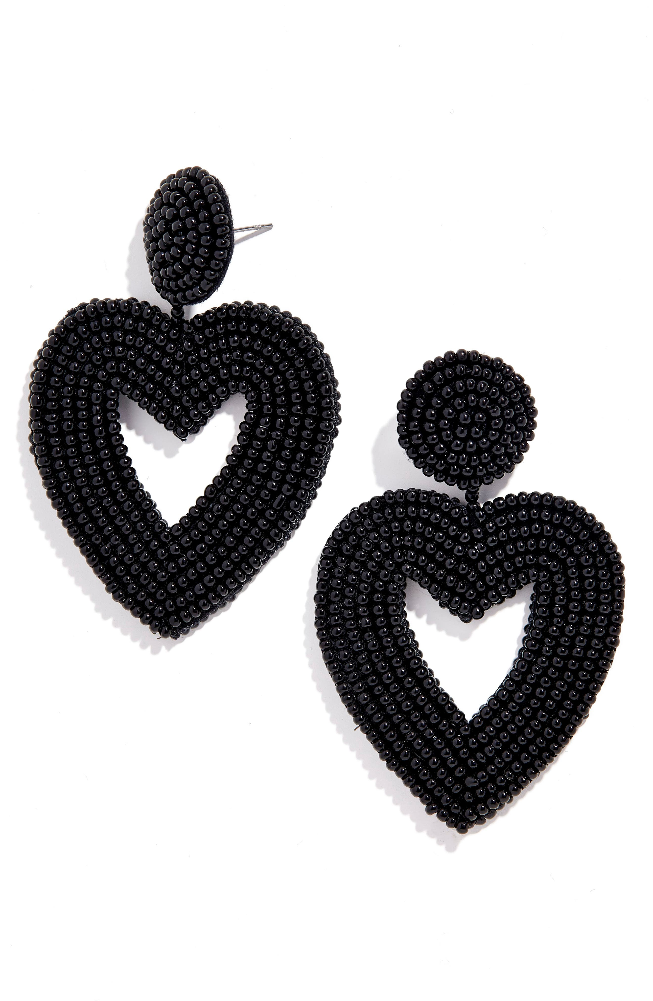 Vionnet Beaded Heart Drop Earrings, Main, color, BLACK