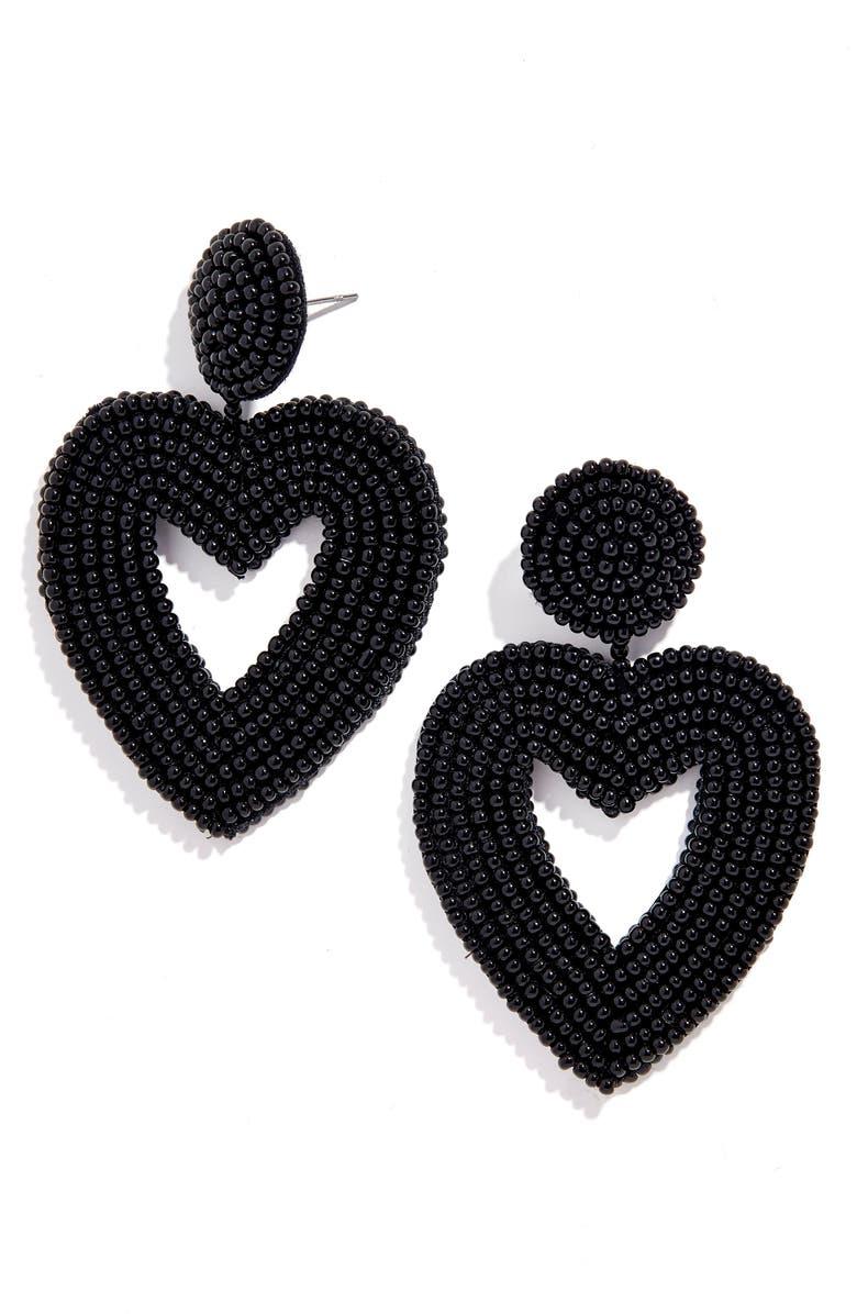 BAUBLEBAR Vionnet Beaded Heart Drop Earrings, Main, color, 001