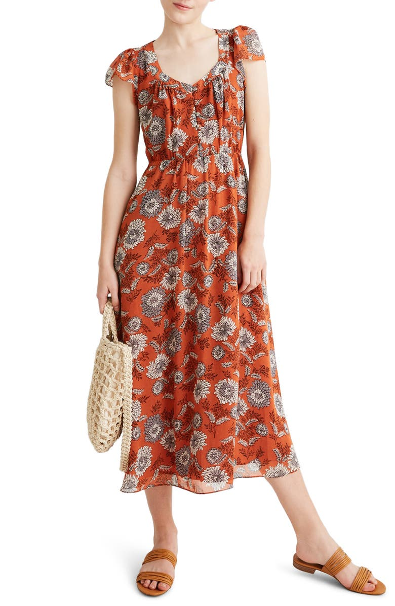 MADEWELL Sheer Sleeve Button Front Dress, Main, color, BLOCKPRINT FLORAL RUSTED TIN