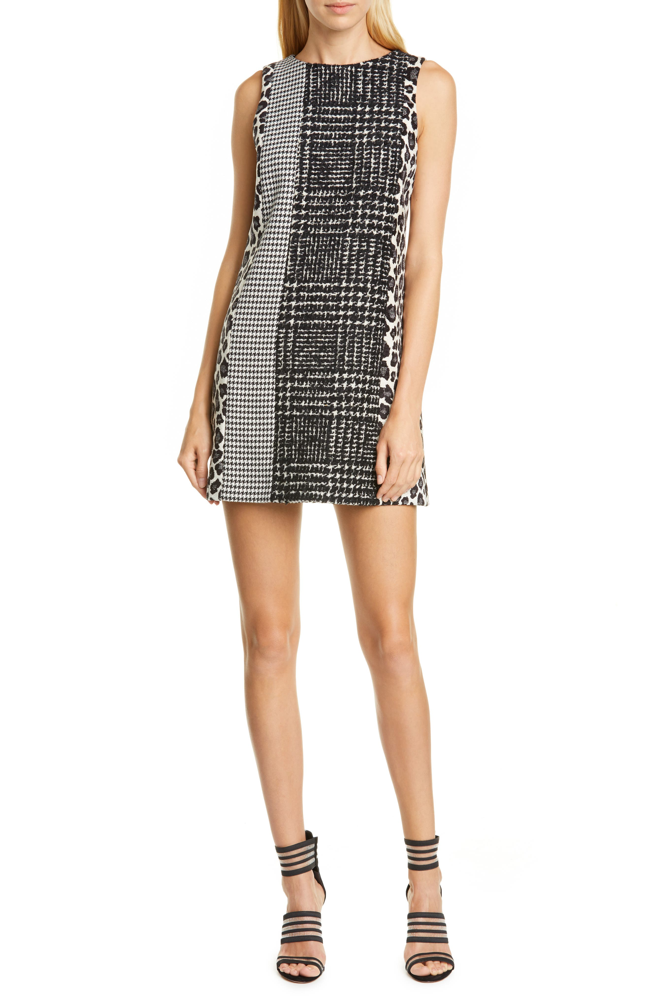 Image of alice + olivia Clyde Pattern Mix Wool Blend Shift Dress