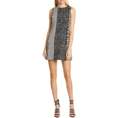 Alice + Olivia Clyde Pattern Mix Wool Blend Shift Dress, Black