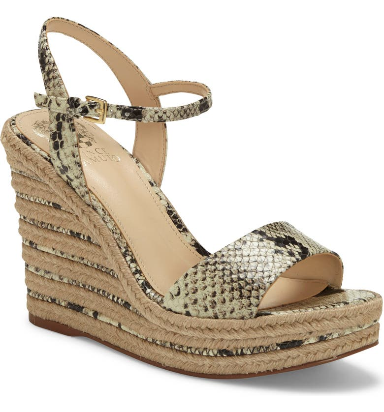 VINCE CAMUTO Marybell Platform Wedge Sandal, Main, color, SNAKE PRINT LEATHER