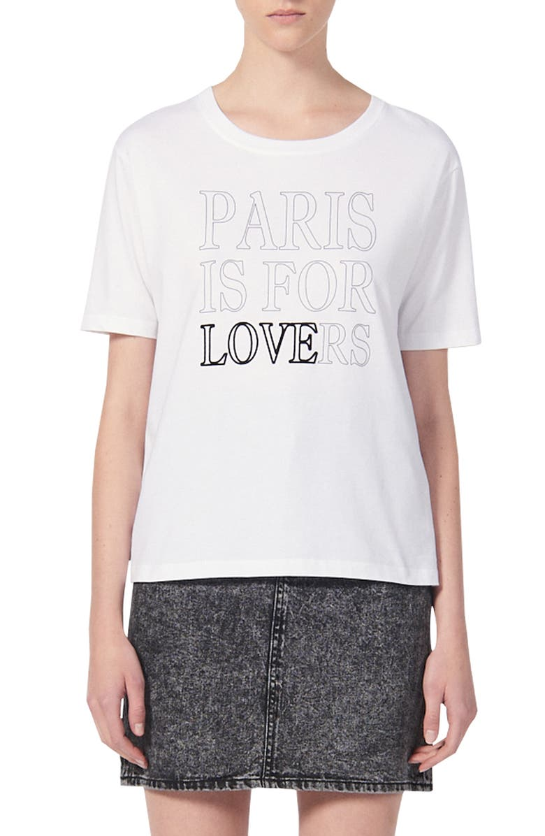 SANDRO Pary Paris Is For Lovers Graphic Cotton Tee, Main, color, 100
