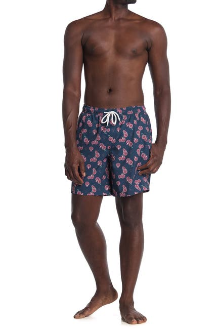 Image of WALLIN & BROS Printed Drawstring Swim Trunks