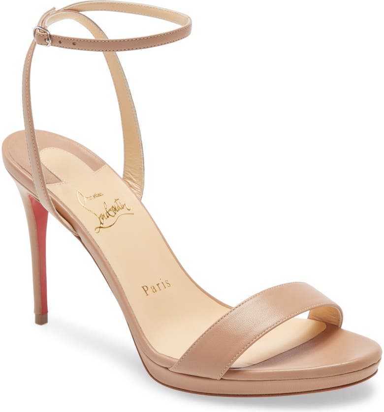 CHRISTIAN LOUBOUTIN Loubi Queen Sandal, Main, color, NUDE NAPPA