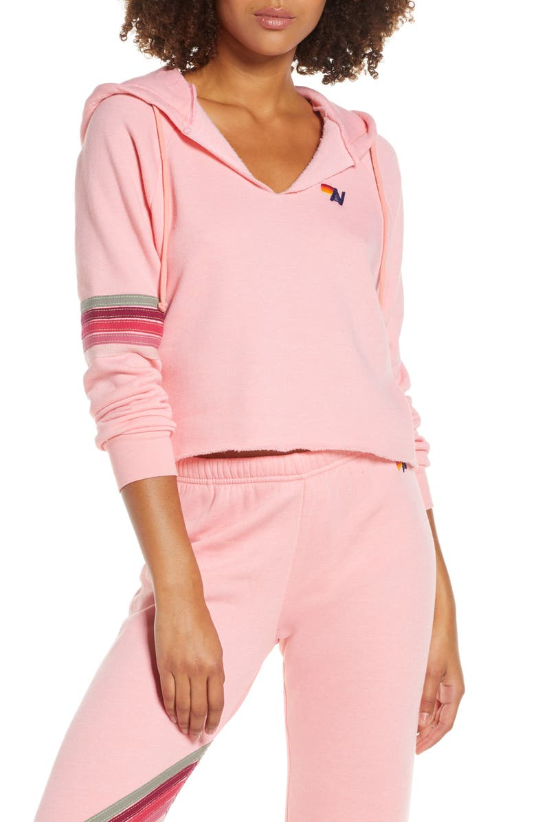 AVIATOR NATION Hooded Fleece Pullover, Main, color, BLUSH