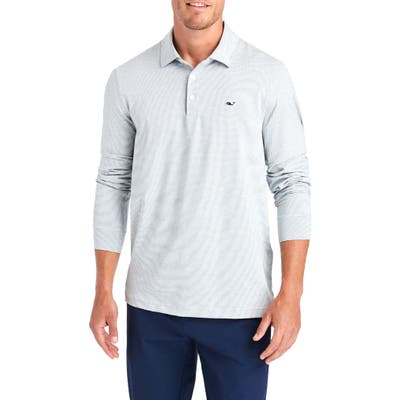 Vineyard Vines Destin Stripe Long Sleeve Polo, White